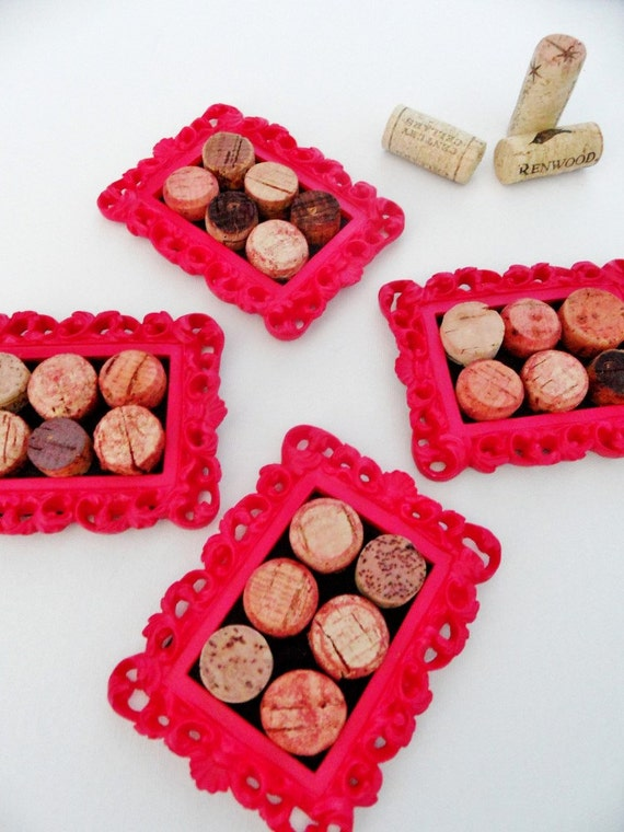4 Bright Pink Cork Coasters (Set of Four)