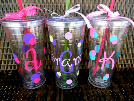 Personalized 24 oz. Acrylic Tumber with Lid & Straw