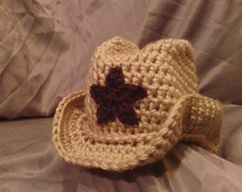 Cowgirl or Cowboy Crochet Hat with Star Accent for Newborn to Toddler