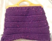 Knitted Bag -  Purple Sparkle, Knitting bag, Crochet Bag,