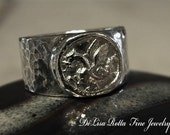 Recycled Silver, Dragon, Hammered Ring, Viking, Medieval