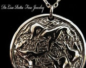 Recycled Silver Epona Celtic Horse Goddess Pendant Necklace