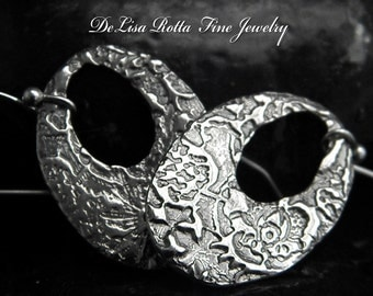 Recycled Pure Silver Antique Lace Hoop Earrings
