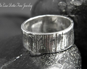 Recycled Silver, Rustic, Wood, Ring, Band