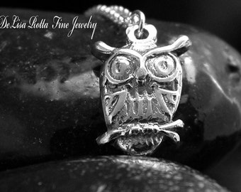 Recycled Silver, Little Wise Owl, Necklace
