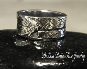 Recycled Silver, Leaf Ring, Band, Gift