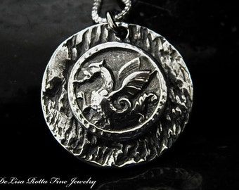 Recycled Silver Dragon Pendant Year Of The Dragon Necklace
