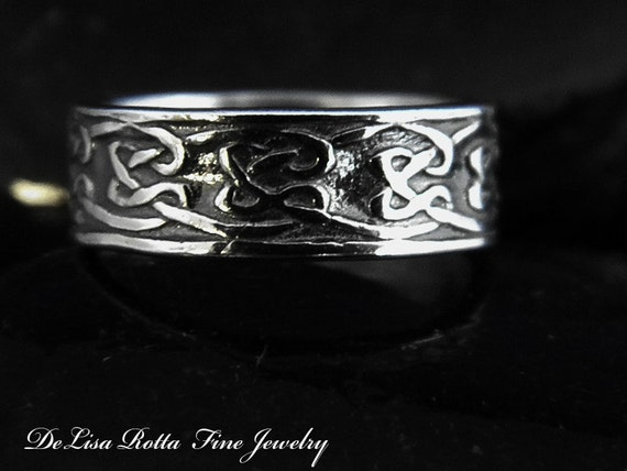 Super Sale, Last One, Size 6, Recycled Silver Celtic Ring Wedding Band, Fashion Ring, Stacking Ring