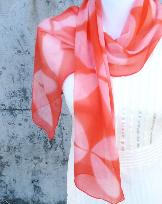 Floral Silk Scarf Hand dyed in Coral Shibori Floral Print Scarf Mothers Day gift