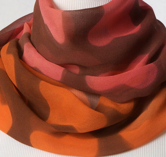 Silk Scarf in Floral Neon Pink and Coral. Mod Hand Dyed Summer Color Block Scarf Mid-century Hand dyed Silk