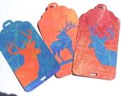 Set of 3 Buck Deer and Bull Elk Gift Tags Blue Orange