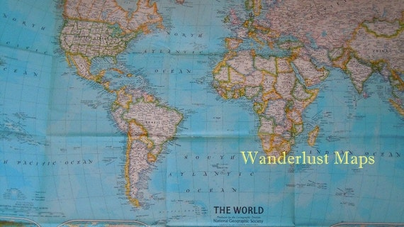Vintage 1981 World Amp Ocean Floor Map By National Geographic