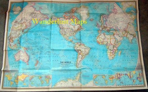 Vintage 1970 World Political Wall Map by National Geographic