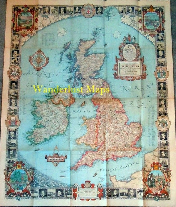 1937 British Isles King George VI England Ireland Wales Scotland Map by National Geographic Antique