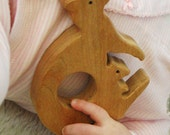 Wood Teething Toy - Kangaroo Natural Eco Friendly Sustainable American Cherry and Maple