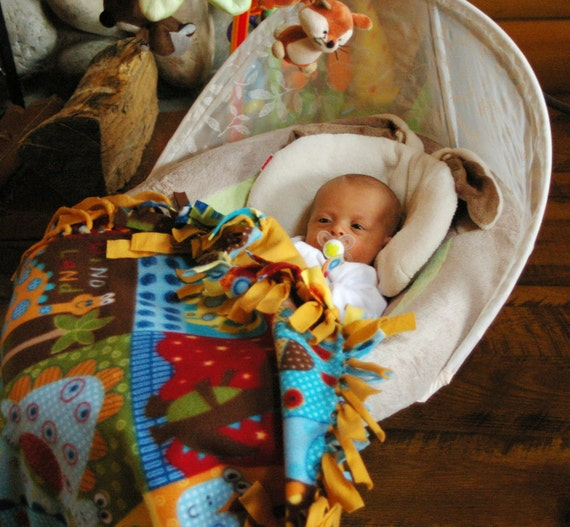 Baby Snuggle Blanket Small Fringed Fleece with Dinosaurs