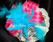 Kids ChildrenBoutique Hairbow and Headband - Over the Top Bow - Boutique Bow - Zebra Hairbow - Baby Bows Pink Aqua Zebra