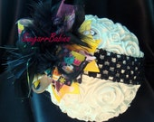 Cupcake, Over the top bow, Boutique Hairbow, Baby Headband, Layered Hair Bow, Cute Bow