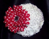 Boutique Headband, Boutique Bow, Red Polkadots, Baby Headband, Flower Headband, Flower Hair Bow