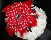 Over the Top Flower Headband, Boutique Bows, Polkadots, Red Polkadots, Hair Bows, Baby Bows