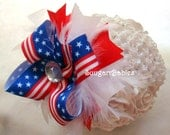 Patriotic Hairbow, Patriotic Bow, Over the Top Bow, Red White Blue Boutique Bow, Boutique Hairbow