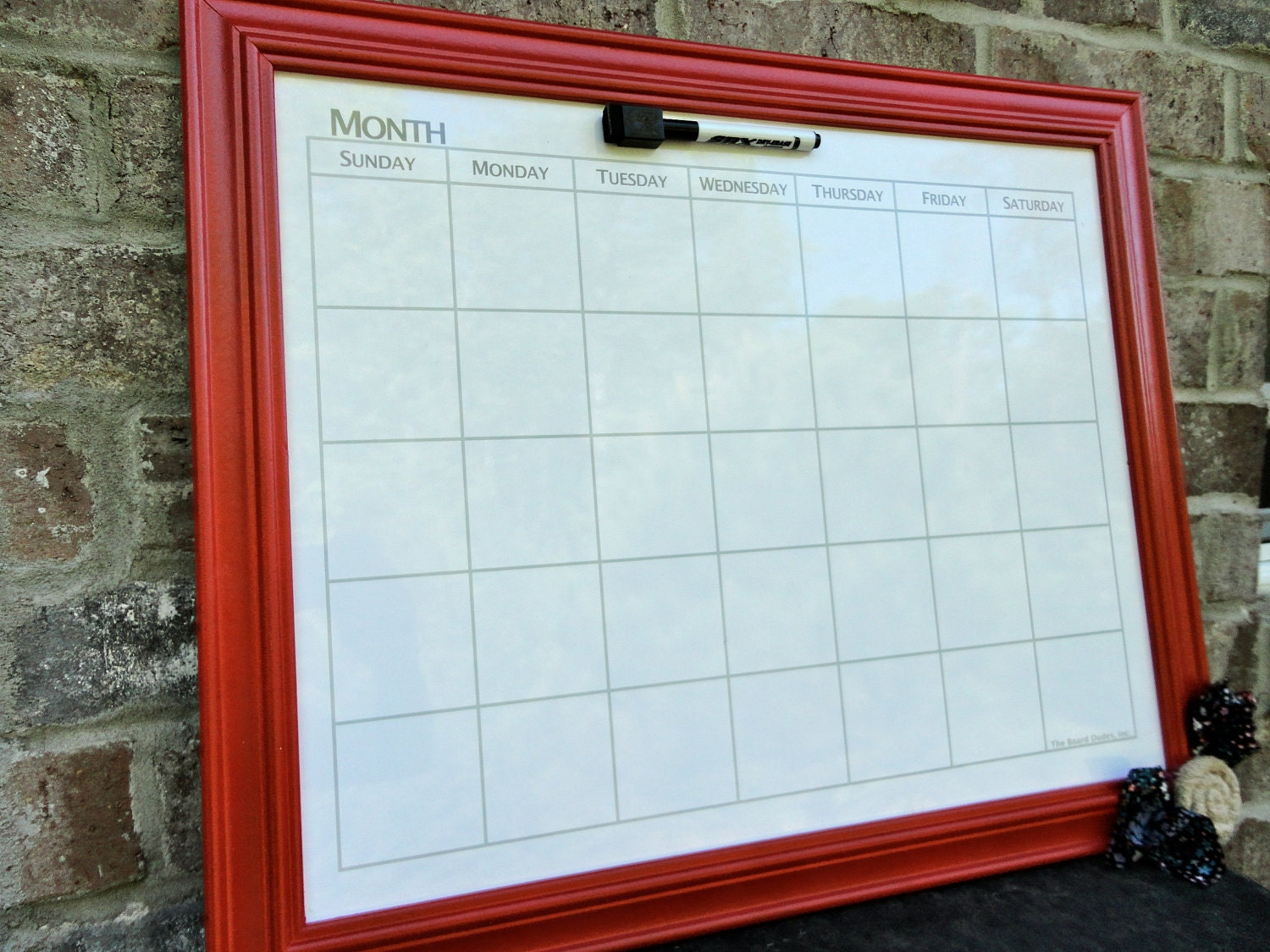 Framed Magnetic Whiteboard Calendar Orange By Whogivesacraft28