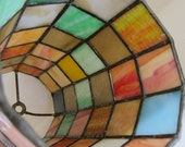 Vintage Stained Glass Hanging Lamp Shade Project Piece Slag Glass Squares
