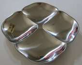 Mid Century Swedish Stainless Steel Gense Vintage Divided Bowl Never Used Original Box