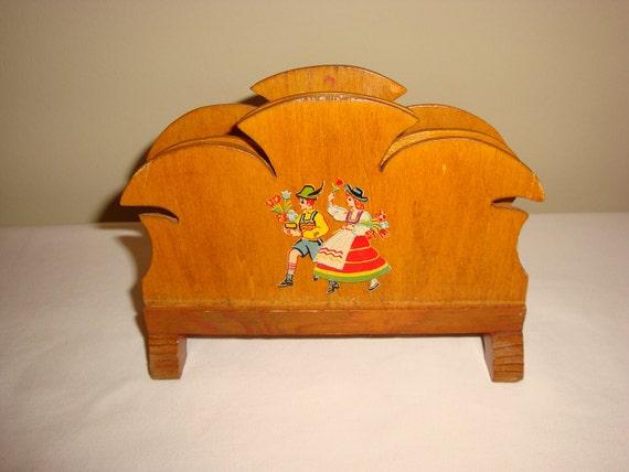 Vintage Wooden Napkin Holder with Dutch Decal