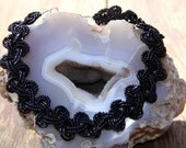 "All facet cut seed beads, ""Black Lace"" beaded choker, adjustable necklace."