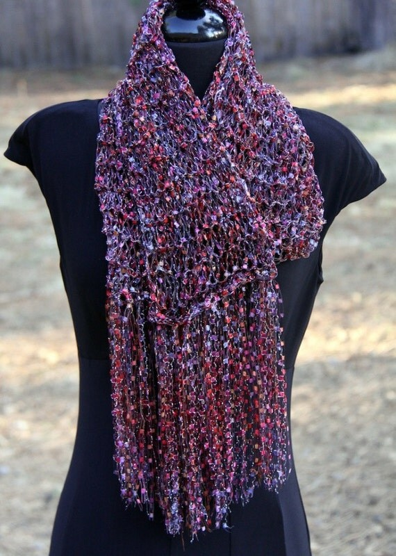 SALE )) Double Strand Ribbon Scarf in pinks, lavender & black w/shimmer. 25% off -PLUS- Free Shipping