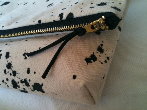 Foldover Clutch or Bag in Natural Canvas with Black Design