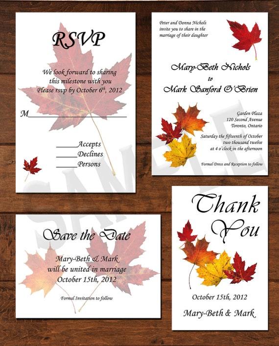 Fall Autumn Leaves Wedding Invitation Package By CCGDigitalDesigns