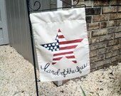 Hand painted Patriotic Star  Fourth of July Garden Flag