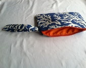 Handmade Large Wristlet w/blue coral print and bright orange zipper  interior lining - gifts under 20 - nautical accessories- gator fan bag