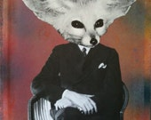 Mixed media collage art. Multi colored background, man in suit, fox head, pure freaking awesome.