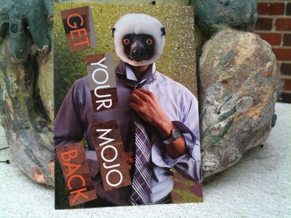 Mixed media collage ACEO. Man with lemur head 'bout to get him some.