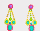 Handpainted Neon Rhinestone Earrings