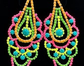 Handpainted Neon Rhinestone Earrings II