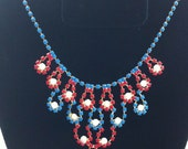 Red, White and Blue Handpainted Rhinestone necklace