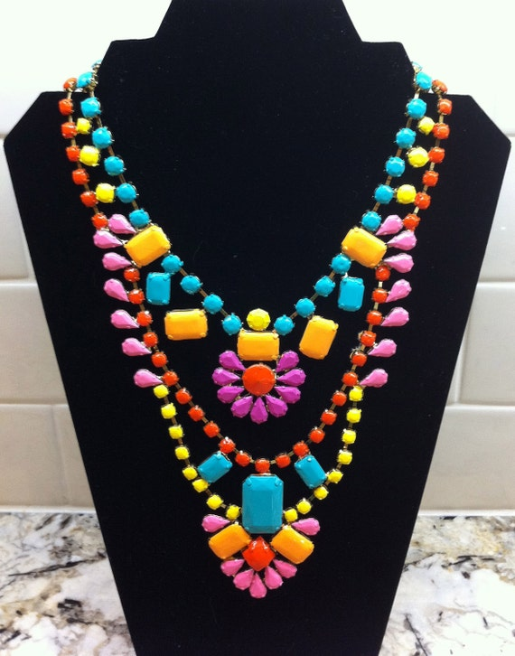 Handpainted Neon Rhinestone Necklace