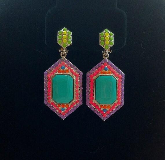 Handpainted Neon Rhinestone Earrings