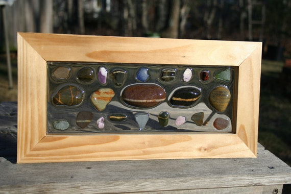 """Natural find sea glass with wampum and """"lucky"""" stones, framed in re-milled pine plank flooring from Martha's Vineyard"""