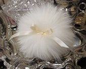 SALE Lovely wool powder puff with Ivory Satin bows. Handmade in the usa Free Ship BUY 1 GET 1 half off