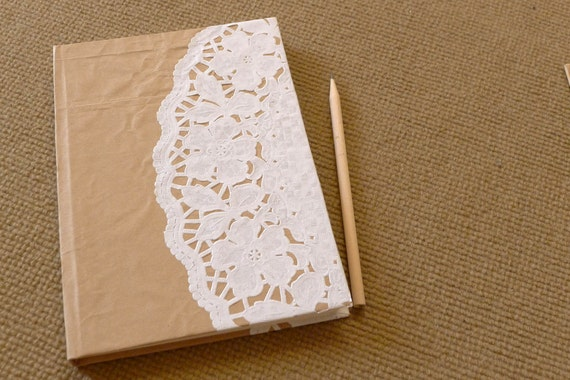 handmade notebook, diary, journal, eco friendly sketch book, scrapbook, recycled paper, paperbag with doily paper - The doily
