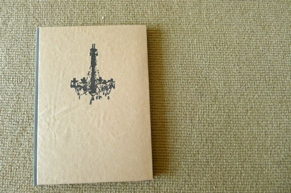 handmade notebook, diary, journal, eco friendly sketch book, scrapbook, recycled paper, reconstruction  - chandelier