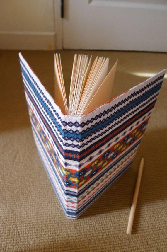 handmade notebook, diary, journal, sketch book, scrapbook, fabric cover in aztec pattern - aztec