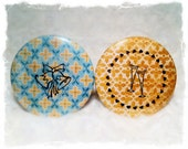 Compact Pocket Mirrors - retro, turquoise, teal, mustard, cheers, wedding bells, love, celebration, champagne glasses