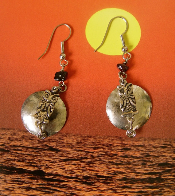 Sale - Handmade Owl Moon Silver Earrings with a velvet patina & black coral.