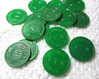 Washington State Tax Tokens Depression Era Green Plastic
